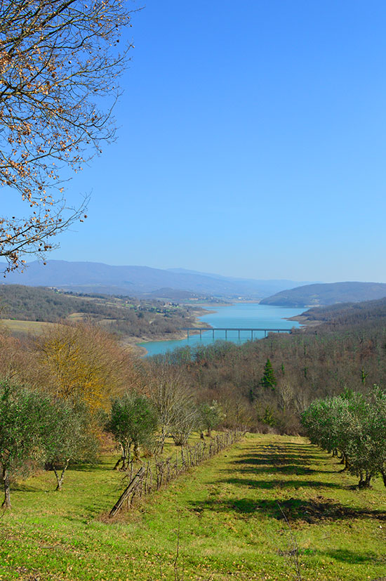 The Lago di Montedoglio, formed by creating a dam on the river Tiber