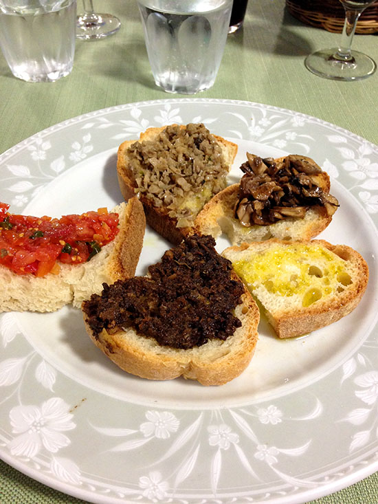A plate of Tuscan crostini, known outside Italy as bruschetta
