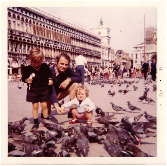 With my father and brother in Venice, 1972.