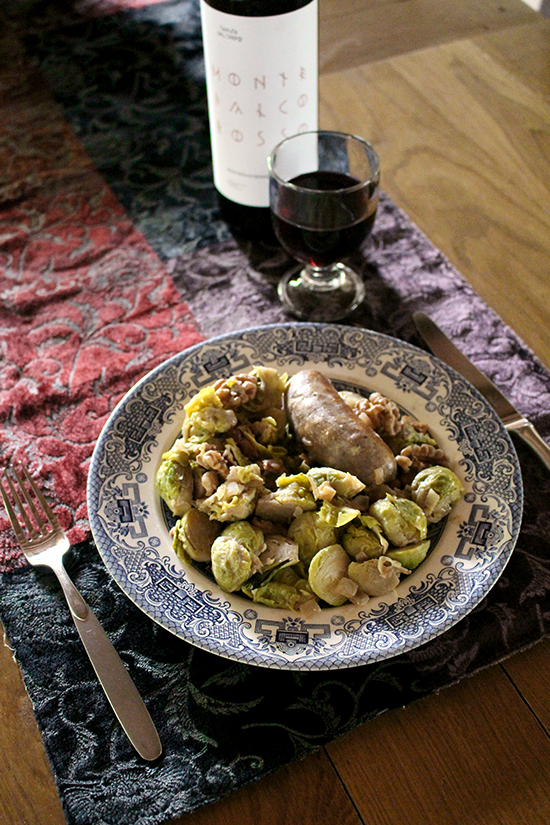 Sausages, sprouts, walnuts